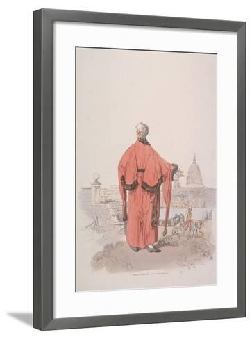 Alderman in Civic Costume Looking Towards St Paul's Cathedral, London, 1805-William Henry Pyne-Framed Art Print