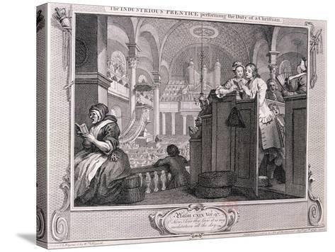 The Industrious Prentice Performing the Duty of a Christian, from Industry and Idleness 1747-William Hogarth-Stretched Canvas Print