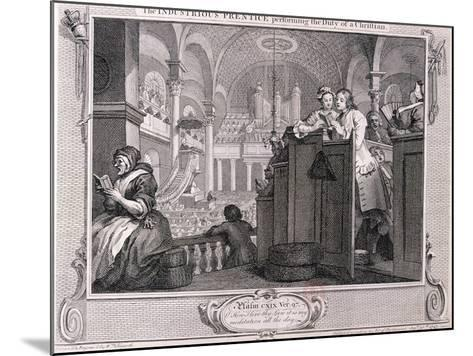 The Industrious Prentice Performing the Duty of a Christian, from Industry and Idleness 1747-William Hogarth-Mounted Giclee Print