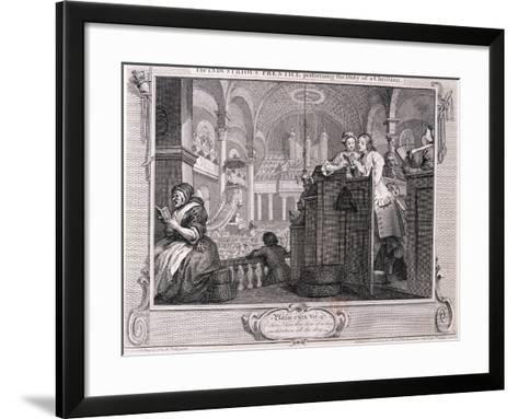 The Industrious Prentice Performing the Duty of a Christian, from Industry and Idleness 1747-William Hogarth-Framed Art Print