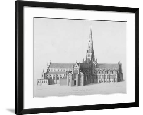 South Elevation of the Old St Paul's Cathedral, City of London, 17th Century-William Finden-Framed Art Print