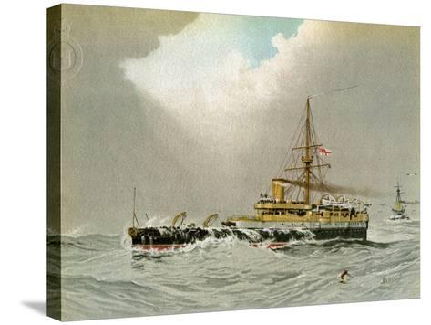 HMS Hero, Royal Navy 2nd Class Battleship, C1890-C1893-William Frederick Mitchell-Stretched Canvas Print