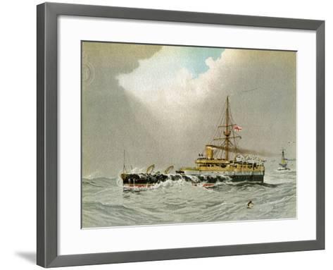 HMS Hero, Royal Navy 2nd Class Battleship, C1890-C1893-William Frederick Mitchell-Framed Art Print
