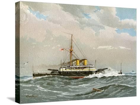 HMS Rodney, Royal Navy 1st Class Battleship, C1890-C1893-William Frederick Mitchell-Stretched Canvas Print