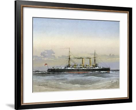 HMS Blenheim, Royal Navy 1st Class Cruiser, 1892-William Frederick Mitchell-Framed Art Print