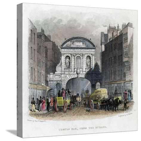 Temple Bar, from the Strand, London, 1829-W Wallis-Stretched Canvas Print