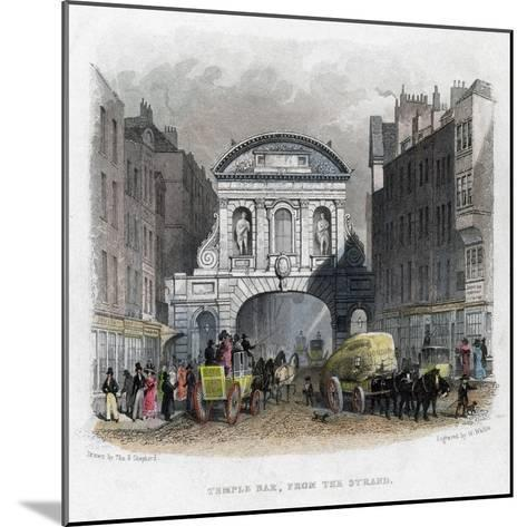 Temple Bar, from the Strand, London, 1829-W Wallis-Mounted Giclee Print