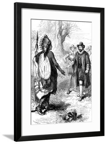Reception of a Narragansett Warrior, Massachusetts, C1630S-Whymper-Framed Art Print