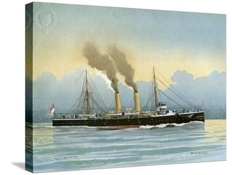 HMS Latona, Royal Navy 2nd Class Cruiser, C1890-C1893-William Frederick Mitchell-Stretched Canvas Print