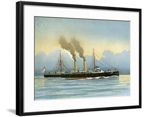 HMS Latona, Royal Navy 2nd Class Cruiser, C1890-C1893-William Frederick Mitchell-Framed Art Print