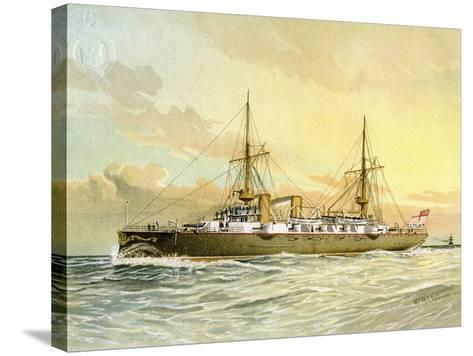 HMS Undaunted, Royal Navy 1st Class Cruiser, C1890-C1893-William Frederick Mitchell-Stretched Canvas Print