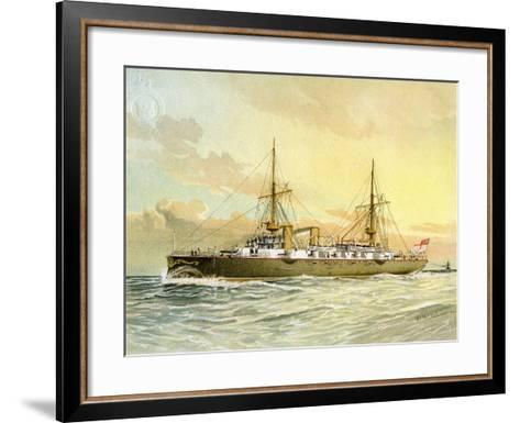 HMS Undaunted, Royal Navy 1st Class Cruiser, C1890-C1893-William Frederick Mitchell-Framed Art Print