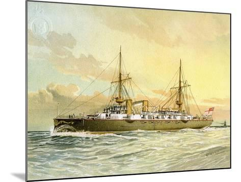 HMS Undaunted, Royal Navy 1st Class Cruiser, C1890-C1893-William Frederick Mitchell-Mounted Giclee Print