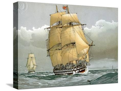 A 74 Gun Royal Navy Ship of the Line, C1794 (C1890-C189)-William Frederick Mitchell-Stretched Canvas Print