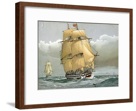 A 74 Gun Royal Navy Ship of the Line, C1794 (C1890-C189)-William Frederick Mitchell-Framed Art Print