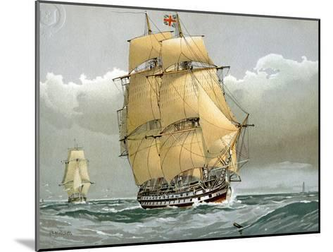 A 74 Gun Royal Navy Ship of the Line, C1794 (C1890-C189)-William Frederick Mitchell-Mounted Giclee Print