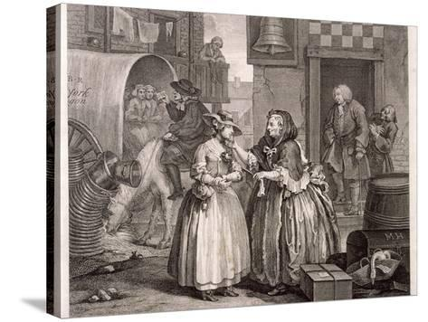 Innocence Betrayed, or the Journey to London, Plate I of the Harlot's Progress, 1732-William Hogarth-Stretched Canvas Print