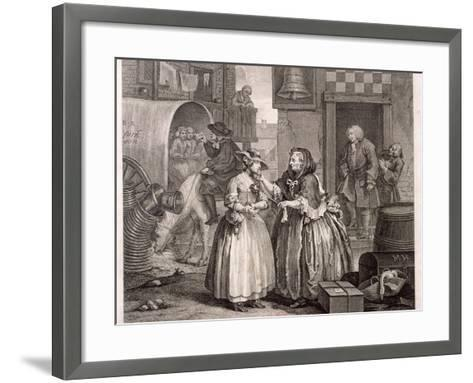 Innocence Betrayed, or the Journey to London, Plate I of the Harlot's Progress, 1732-William Hogarth-Framed Art Print