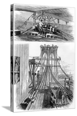 Construction of the Brooklyn Suspension Bridge, New York, USA, 1880--Stretched Canvas Print