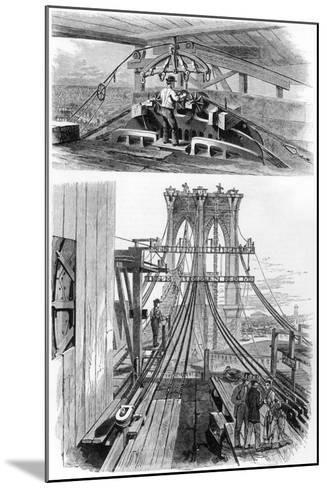 Construction of the Brooklyn Suspension Bridge, New York, USA, 1880--Mounted Giclee Print