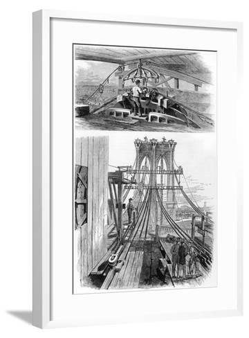 Construction of the Brooklyn Suspension Bridge, New York, USA, 1880--Framed Art Print