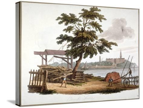 Men Moving Timber at Bankside, Southwark, London, C1810-William Pickett-Stretched Canvas Print