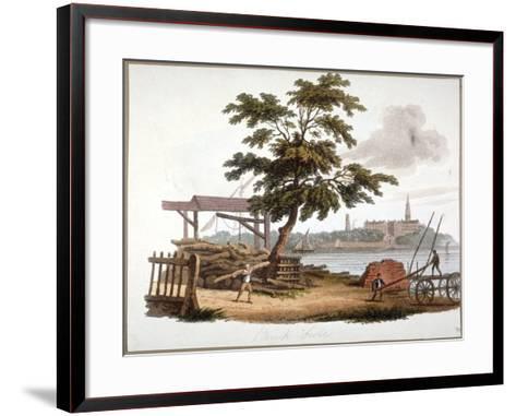 Men Moving Timber at Bankside, Southwark, London, C1810-William Pickett-Framed Art Print