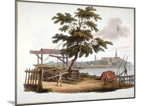 Men Moving Timber at Bankside, Southwark, London, C1810-William Pickett-Mounted Giclee Print