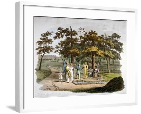 View of a Drinking Well, Hyde Park, Westminster, London, 1812-William Pickett-Framed Art Print