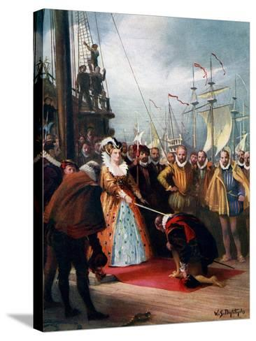 Queen Elizabeth Knighting Sir Francis Drake, 1581-WS Bagdatopulos-Stretched Canvas Print