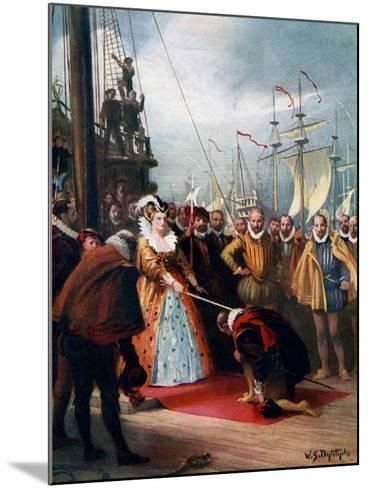 Queen Elizabeth Knighting Sir Francis Drake, 1581-WS Bagdatopulos-Mounted Giclee Print