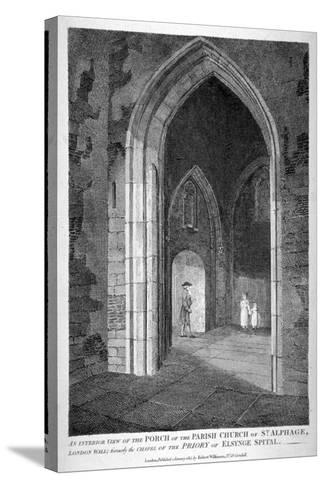 Interior View of the Porch of the Church of St Alfege, London Wall, London, 1815-William Wise-Stretched Canvas Print