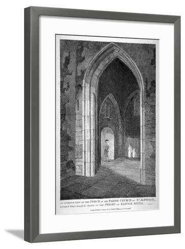 Interior View of the Porch of the Church of St Alfege, London Wall, London, 1815-William Wise-Framed Art Print