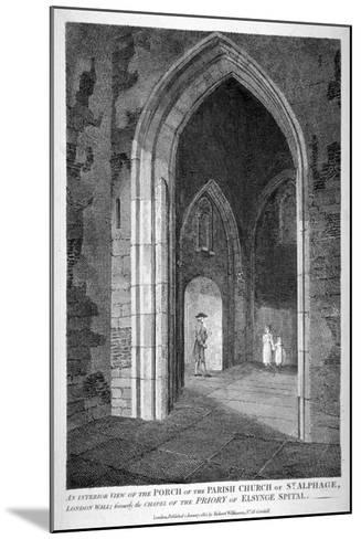 Interior View of the Porch of the Church of St Alfege, London Wall, London, 1815-William Wise-Mounted Giclee Print