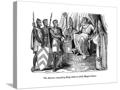 The Barons Compelling King John (1167-121) to Ratify the Magna Carta, 1215--Stretched Canvas Print