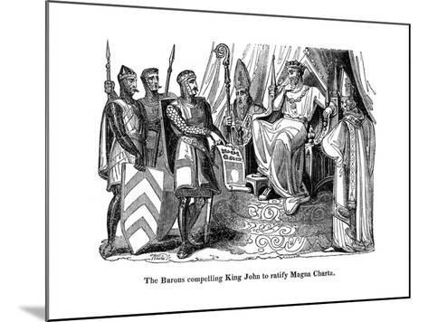 The Barons Compelling King John (1167-121) to Ratify the Magna Carta, 1215--Mounted Giclee Print