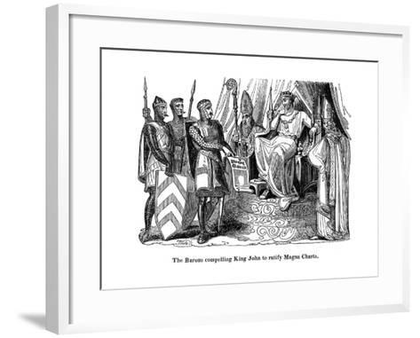The Barons Compelling King John (1167-121) to Ratify the Magna Carta, 1215--Framed Art Print
