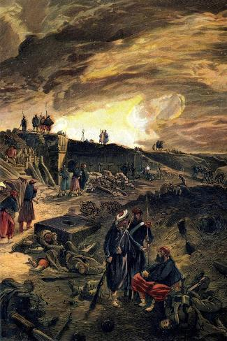 After the Taking of Malakoff on 8th September 1855, C1855-William Simpson-Stretched Canvas Print