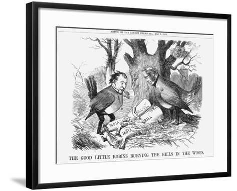 The Good Little Robins Burying the Bills in the Wood, 1858--Framed Art Print