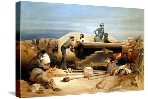 A Quiet Day in the Diamond Battery - Portrait of a Lancaster 68-Pounder, Crimean War 1855-1856-William Simpson-Stretched Canvas Print