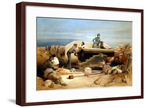 A Quiet Day in the Diamond Battery - Portrait of a Lancaster 68-Pounder, Crimean War 1855-1856-William Simpson-Framed Art Print