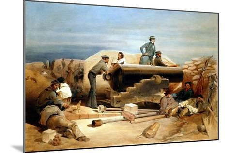 A Quiet Day in the Diamond Battery - Portrait of a Lancaster 68-Pounder, Crimean War 1855-1856-William Simpson-Mounted Giclee Print
