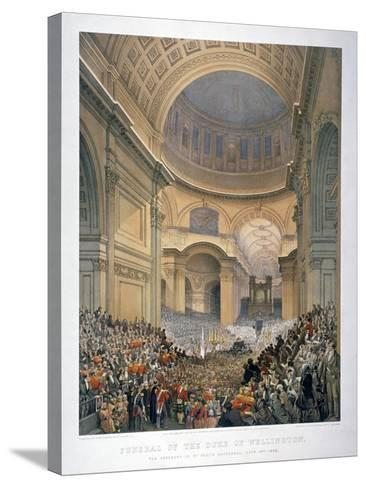 Interior of St Paul's Cathedral During the Funeral of the Duke of Wellington, London, 1852-William Simpson-Stretched Canvas Print