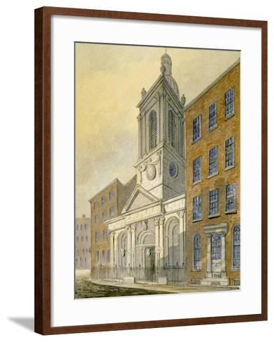 North-East View of the Church of St Peter-Le-Poer and Old Broad Street, City of London, 1815-William Pearson-Framed Art Print