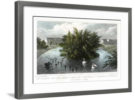 Island on the Lake and Part of Cornwall and Clarence Terraces, Regent's Park, London, 1828-William Tombleson-Framed Art Print