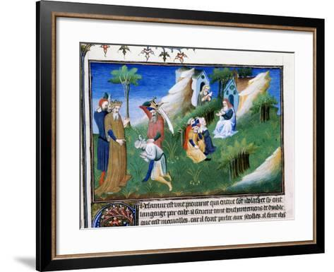 The King of Kashmir Dispenses Justice, Late 13th Century--Framed Art Print