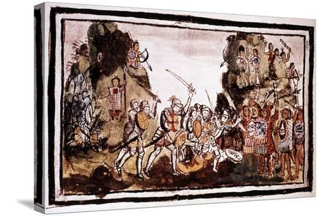 Hernando Cortes (Corte) (1485-154), Spanish Conquistador, Attacking Natives in Mexico--Stretched Canvas Print