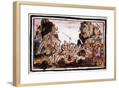 Hernando Cortes (Corte) (1485-154), Spanish Conquistador, Attacking Natives in Mexico--Framed Art Print