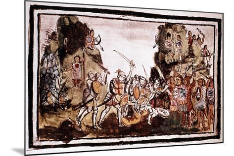 Hernando Cortes (Corte) (1485-154), Spanish Conquistador, Attacking Natives in Mexico--Mounted Giclee Print