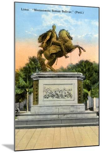 Simon Bolivar Monument, Lima, Peru, Early 20th Century--Mounted Giclee Print